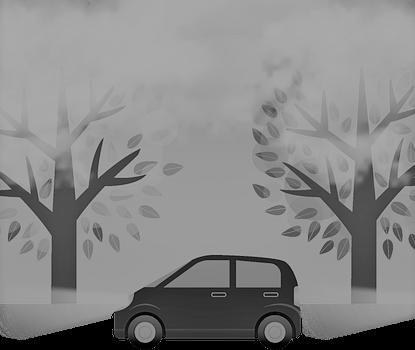 De auto en de boom.